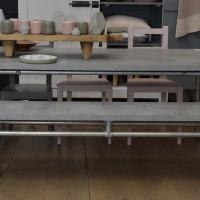 Tafel en bank Mattone Scuro, betonlook, i.c.m. steigerbuizen onderstel Industriale