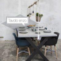Tafel – beton look -mattone scuro – X onderstel – X-forma – Tavolo enzo