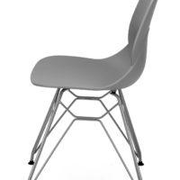 stoel – kuip grijs – zwart onderstel – zij aanzicht- Tavolo enzo