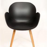 stoel – kuip zwart – houten onderstel – Tavolo enzo