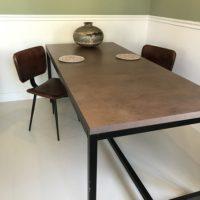 Tafel – roest metallic – stalen onderstel – koker 4- Tavolo enzo