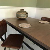 Tafel – roest metallic – stalen onderstel – koker 4- Tavolo enzo – blad