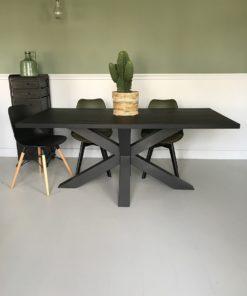 Eettafel zwart betonlook mattone scuro spinpote staal