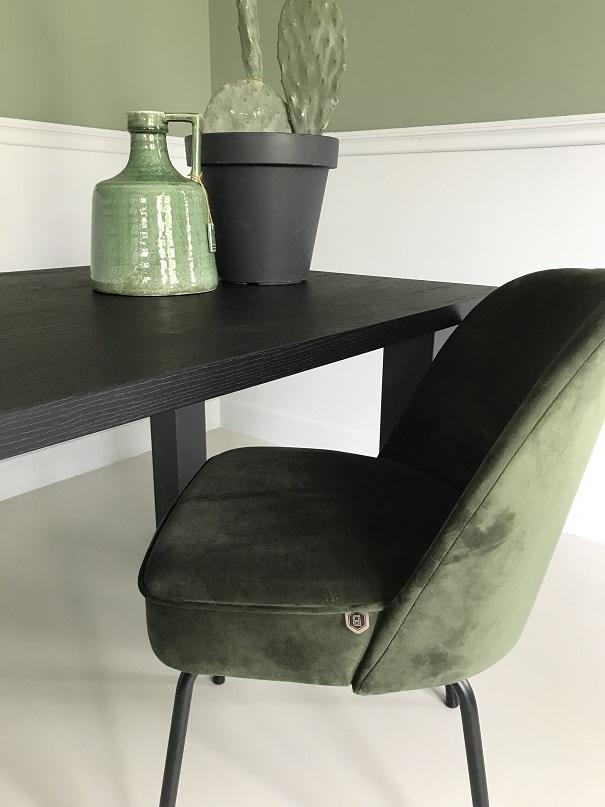 Fonkelnieuw Eettafel zwart eiken houtlook Nero ruvido met U poot | Tavolo enzo KR-59